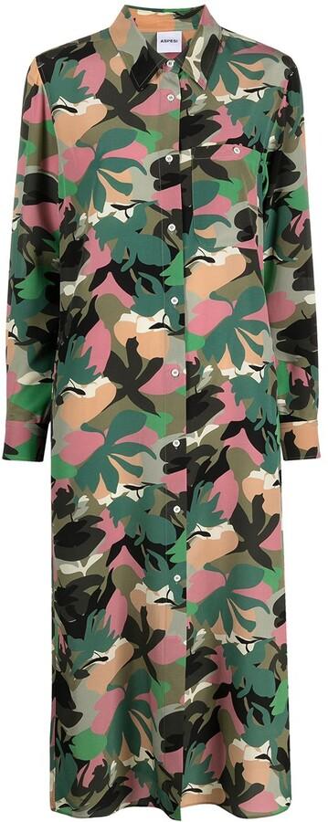Thumbnail for your product : Aspesi Camouflage-Print Silk Shirt Dress