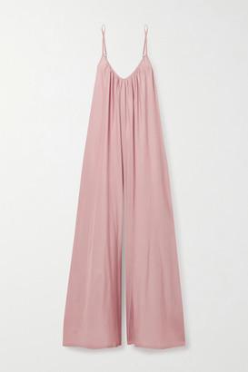 POUR LES FEMMES Gathered Silk Jumpsuit - Blush