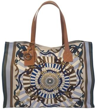 Rani Arabella Grid Print Canvas Tote Bag