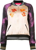 Rodarte contrast panel bomber jacket - women - Silk/Polyamide/Polyester/Wool - XS/S