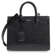 Saint Laurent Nano Sac De Jour Croc Embossed Leather Tote - Black