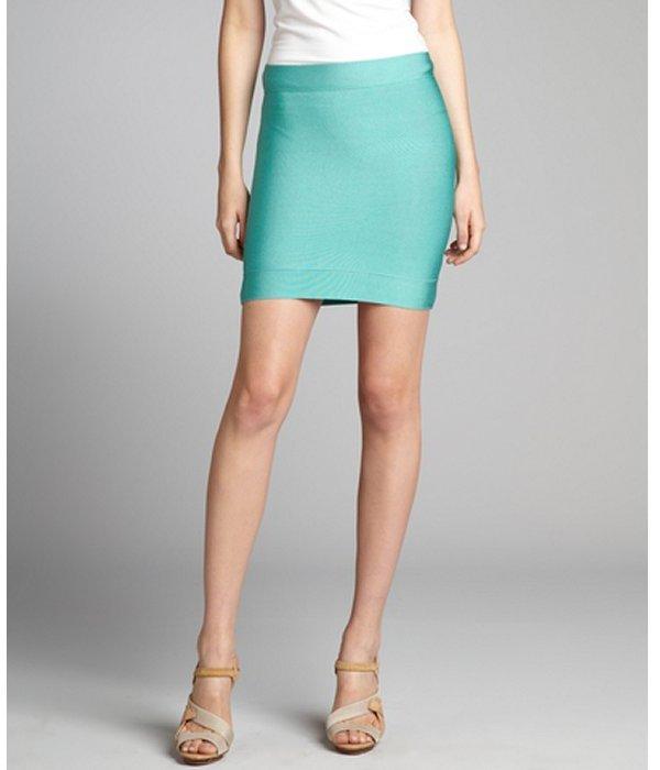 BCBGMAXAZRIA ultra green stretch knit needle skirt