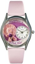 Whimsical Watches Women's S1010019 Pink Hat Pink Leather Watch