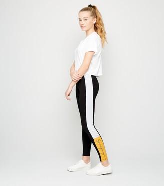 New Look Girls Colour Block Anyway Slogan Leggings