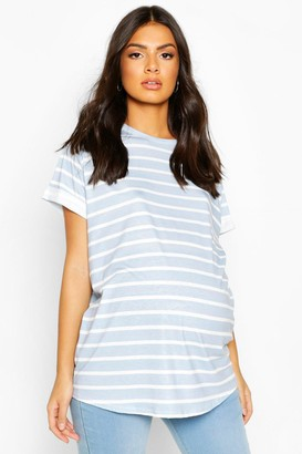 boohoo Maternity Short Sleeve Stripe T-Shirt