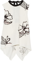 Roland Mouret Thomas Asymmetric Printed Stretch-cloqué Top - White