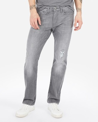 Express Slim Straight Gray Hyper Stretch Jeans