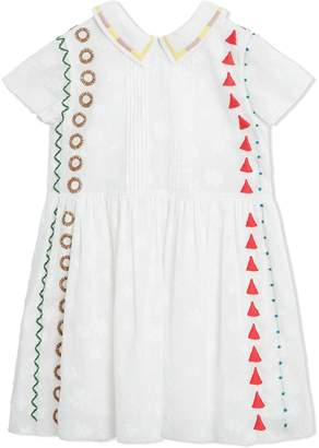 Burberry Peter Pan Collar Embroidered Cotton Dress
