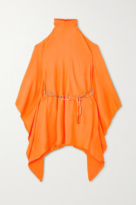 Taller Marmo - Piccola Divina Embellished Draped Crepe Mini Dress - Orange