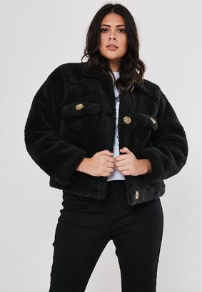Missguided Plus Size Black Cropped Utility Borg Jacket