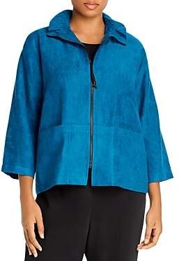 Caroline Rose Plus Faux-Suede Cropped Zip Jacket