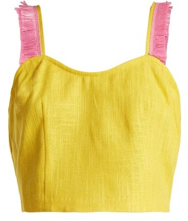 STAUD Coco Raffia Trimmed Linen Blend Top - Womens - Yellow