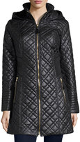 Via Spiga Quilted Coat with Hood, Black