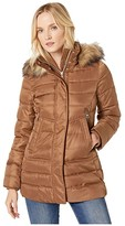 Vince Camuto Mid Weight Down with Faux Fur V29798 (Tobacco) Women's Coat