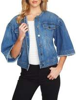 1 STATE 1.STATE Three-Quarter-Sleeve Denim Jacket