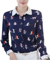 Double Plus Open DPO Women's Floral Printed Collared Long Sleeve Shirt
