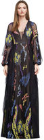 BCBGMAXAZRIA Carine Abstract Embroidery Gown