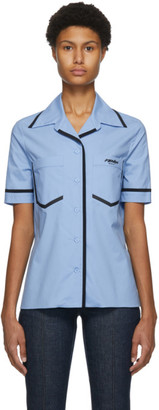 Fendi Blue Eco Popeline Short Sleeve Shirt