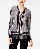 INC International Concepts Printed Zip-Up Top, Only at Macy's