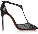 Christian Louboutin Salopatina 100 Patent Leather-trimmed Embellished Mesh Pumps - Black