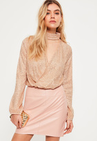Missguided Gold Glitter Choker Neck Long Sleeve Wrap Crop Top