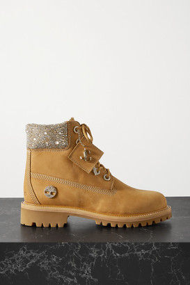 Jimmy Choo + Timberland Crystal-embellished Nubuck Ankle Boots - Tan