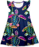 Millie Loves Lily Girls' Casual Dresses Water - Navy Watercolor Turtle Angel-Sleeve A-Line Dress - Toddler & Girls