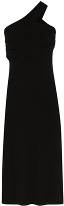 Helmut Lang Asymmetric One Shoulder Midi Dress