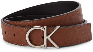 Calvin Klein Brown Pebbled Faux Leather Belt