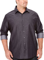 Claiborne Long-Sleeve Chambray Button-Front Cotton Shirt - Big & Tall