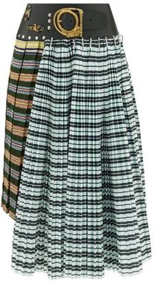 Chopova Lowena - Pleated Check Wool-blend Midi-skirt - Green Multi
