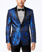 Tallia Orange Men's Big and Tall Slim-Fit Electric Blue/Black Abstract Dinner Jacket