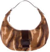 Fendi Leather-Trimmed Ponyhair Shoulder Bag