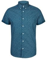 Burton Burton Teal Short Sleeve Geometric Print Shirt