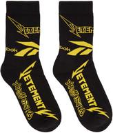 Vetements Black Reebok Edition Metal Socks