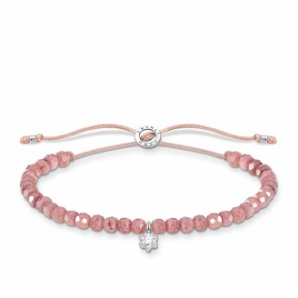 Thomas Sabo 925 Sterling Silver Pink Pearls and White Stone Bracelet of Length 13 - 20 cm