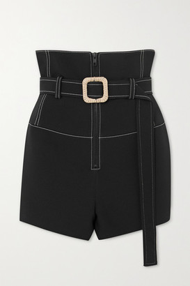 Kenzo Belted Topstitched Scuba Shorts - Black