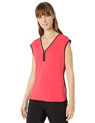 Calvin Klein Women's Piped Sleeveless TOP with Zipper