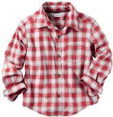 Carter's Boys 4-8 Plaid Flannel Button-Down Pocket Shirt