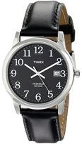 Timex Classic EZRead Analog Silver Case Black Leather Strap Watch