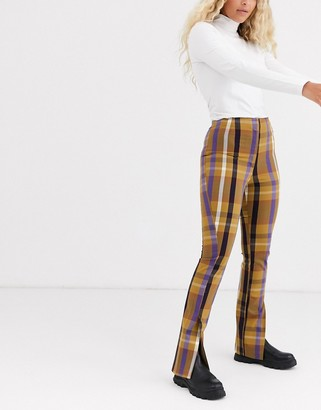 Monki check tailored flared pants in mustard-Beige