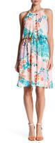 Nine West Printed Pleat Bodice Dress