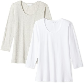 Daily Ritual Amazon Brand Women's Stretch Supima 3/4-Sleeve Scoop Neck T-Shirt