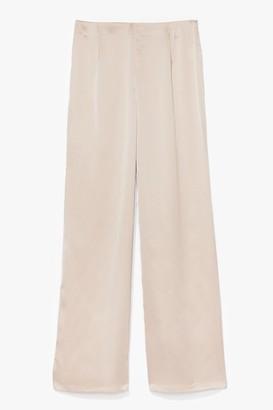 Nasty Gal Womens Sleek To Our Heart Satin Longline Trousers - Beige - 4