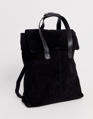 Asos Design DESIGN suede backpack with double handle-Black