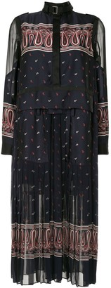 Sacai Paisley-Print Satin And Organza Midi Dress