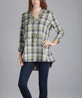 Lily Green Plaid Roll-Tab Sleeve Tunic - Plus Too