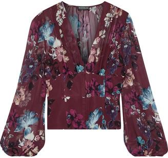 Nicholas Gathered Floral-print Silk-georgette Blouse