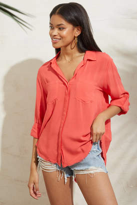 Velvet Heart Fray Hem Button Down Shirt Coral M