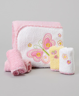 SpaSilk Pink Flower Butterfly Terry Hooded Towel Set